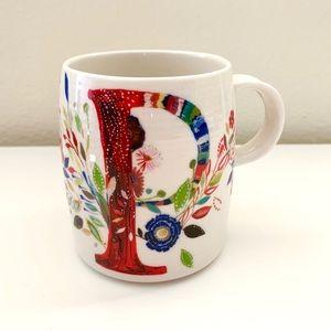 NWOT Anthropologie Petal Palette P Monogram Mug